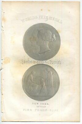 ANTIQUE WORLD'S FAIR MEDALS SILAS C. HERRING NEW BEST FIRE PROOF SAFE ART