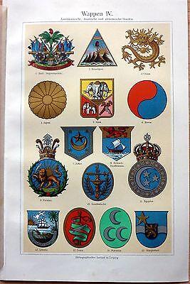 Wappen: Amerikanische, asiatische, Afrika. Alte Farblithographie (um 1905)