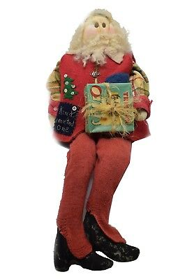 Primitive Handmade Santa Claus Red Vest Kind Hearted W/ Appliqué One of a Kind  (Origin Of Santa Claus)