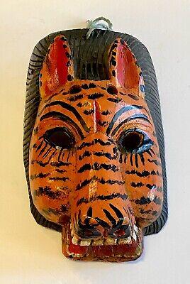 Vintage Guatemala Colorful Hand Carved & Painted Wooden Mask Jaguar Tiger