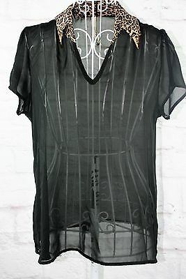 Paper Crane Top Ladies Size Small Black Leapard Sheer Collar V Neckline (Animal Print Paper)