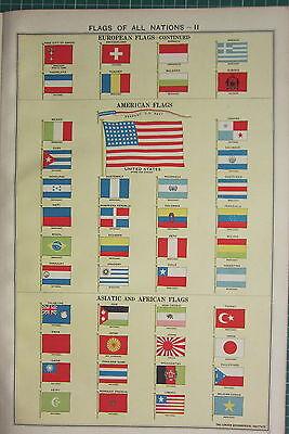 1940 PRINT ~ FLAGS OF NATIONS ASIATIC AFRICAN AMERICAN JAPAN BRAZIL PERU etc