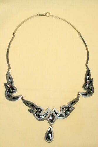 Lovely Alpaca and Abalone Necklace/Collar Mexico 27g