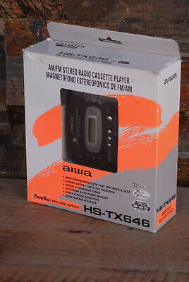 Aiwa HS-TX646 YU Black Personal AM FM Radio Cassette Player Tape walkman w Box