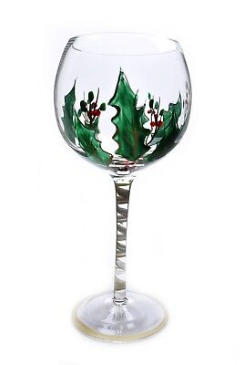 Goblet Gold Trim - Culinary Arts HOLLY Gold Trim Hand Painted Wine Water Goblet Glass Christmas