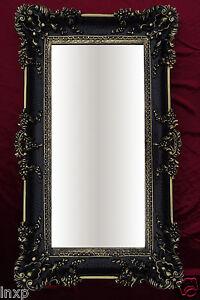 Espejo-de-pared-Rectangular-Negro-Oro-Dual-WANDDEKO-BARROCO-Antiguo-96x57-cm