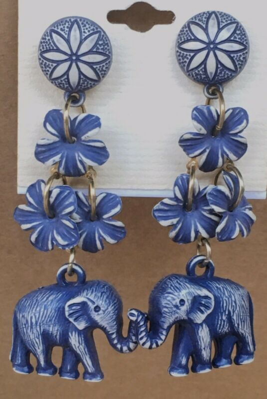 "New Vintage 2.75"" Long Blue Figural Elephant Charm Flowers Dangle Drop Earrings"