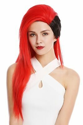 Wig Unisex Cosplay Punk Emo Wave 80's Long Black Red DL104-113-1B