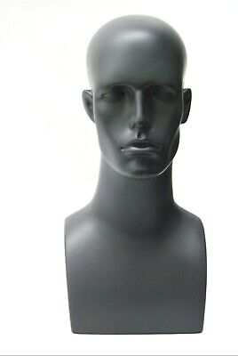 Adult Male Plastic Dark Gray Male Tabletop 17 Inch Mannequin Display Head
