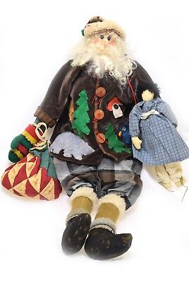 Primitive Handmade Santa Claus Brown Coat W/ Appliqué w/Doll One of a Kind  (Origin Of Santa Claus)