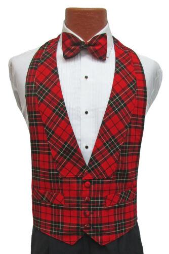 Boys Size Red Alexander Julian Plaid Tuxedo Vest & Bow Tie 100% Wool Christmas