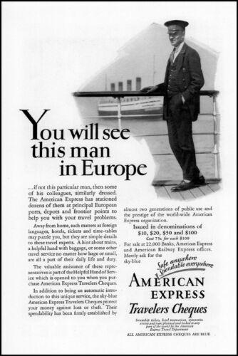 1928 Europe cruise ship American Express travelers checks photo print ad ads60