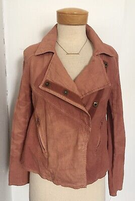 Free People Women's Coral Blush Linen Blend Asymmetrical Front Moto Jacket Small
