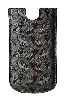 NEW DOLCE & GABBANA Phone Case Cover Gray Car Print Leather 13,5x7,5 cm
