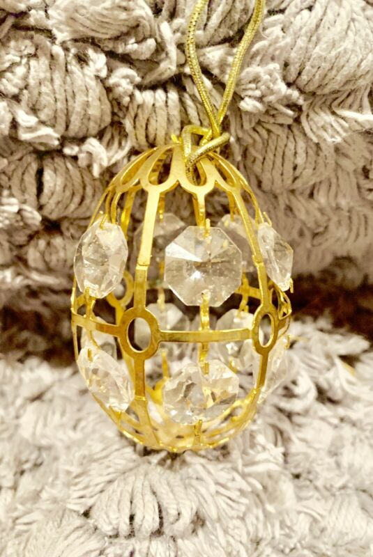 Beautiful GOLD EGG Christmas tree ornament CRYSTALS Prisms