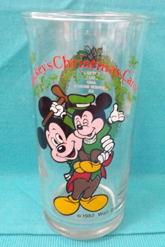 Mickey Mouse Vintage Coca Cola Christmas Carol Bob Cratchit Tiny Tim Glass 1982