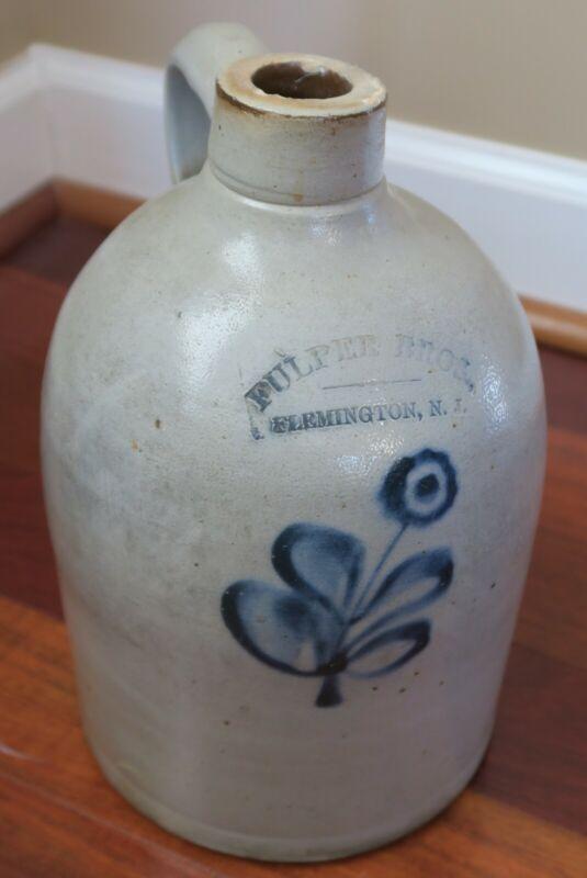 Antique Salt Glazed Stoneware Jug FULPER BROS w/ Hand Painted Blue Flower Design