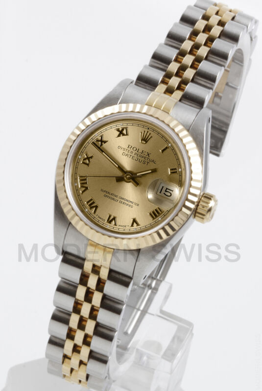 Rolex Ladies Datejust Gold & Steel Champagne Roman Dial Fluted Jubilee Two Tone
