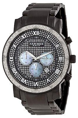 NEW Akribos XXIV AKR439BK Men's Grandiose Diamond Quartz Chronograph Black Watch