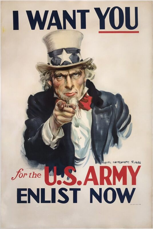 Original Vintage Poster I WANT YOU FOR THE U.S. ARMY USA WWII Uncle Sam FLAGG OL
