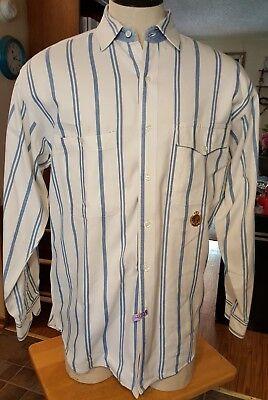 Hunting Horn mens shirt white/blue button down stripes long sleeves 2 - Striped White Horn