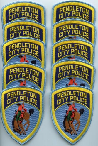 PENDLETON OREGON Patch Lot Trade Stock 10 Police Patches Horse CITY POLICE PATCH