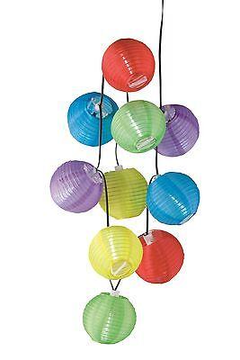 Solar Lichterkette LED 10 Lampions Party Garten Lampion Kette 240cm Lichterkette