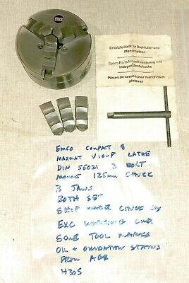 Emco Compact 8 Lathe 3 Jaw Chuck Set Din 55021 125mm Diameter Maximat V10-p H30s