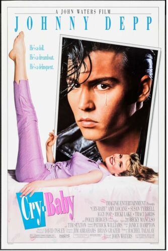 """CRY-BABY, JOHNNY DEPP Universal, 1990, 27"""" X 41"""", NEAR MINT DS original poster"""