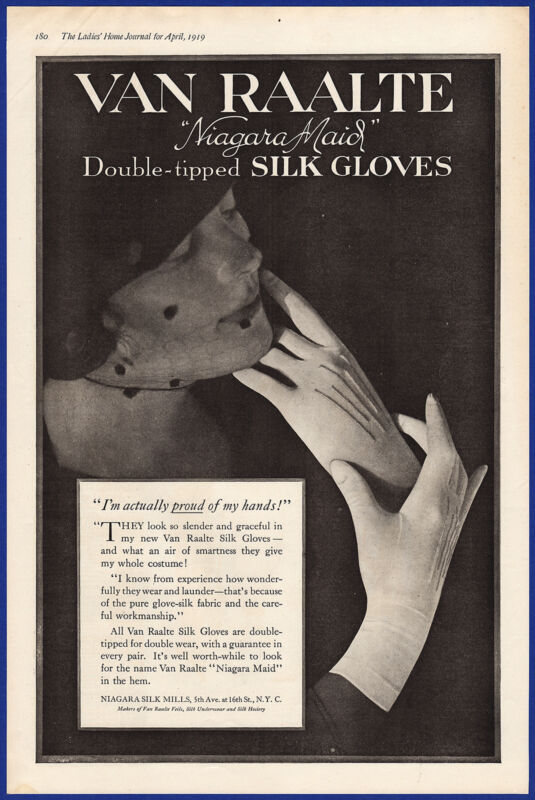 Vintage 1919 VAN RAALTE Double-Tipped Silk Gloves Women