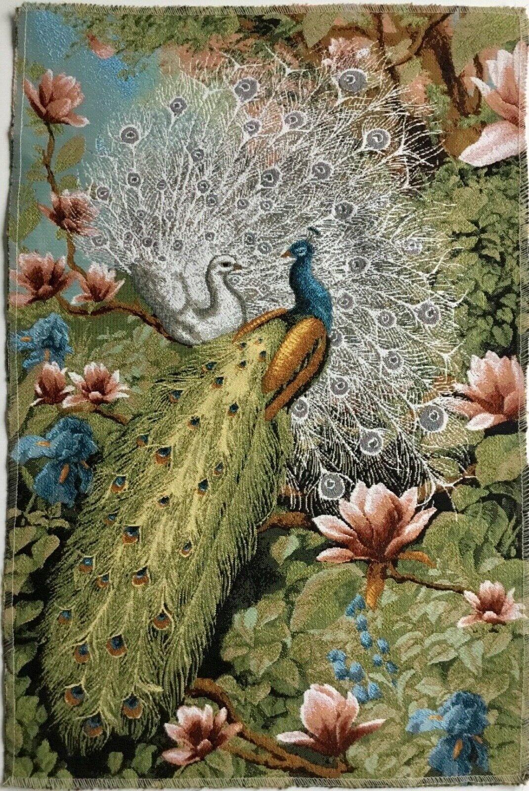Gobelin Panel TextilbildPfauen Paradiesgarten Natur Stoff ca. 35x50 cmNEU