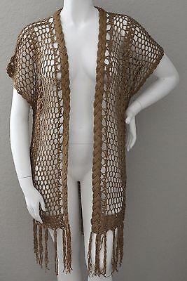 Velzera Crochet Knit Fringe Long Duster Cardigan Sweater Mocha - Plus 3XL - New! (Crochet Knit Fringe)