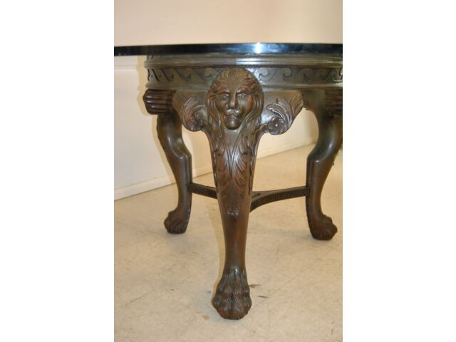 """Round 60"""" Glass Top Table with Lions Head Paw Feet and Greek Key Carving"""