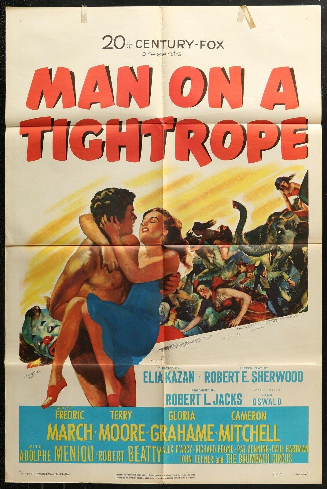 MAN ON A TIGHTROPE Elia Kazan ORIGINAL 1953 1-SHEET MOVIE POSTER 27 x 41