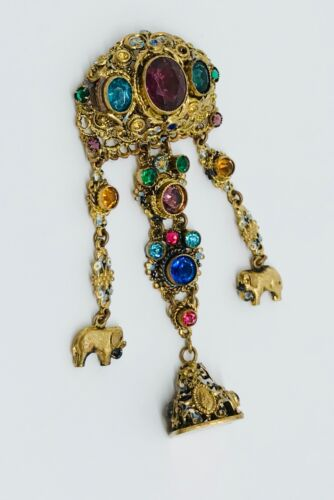 Antique Czech Enamel Gold Filigree Pin Hanging Fob & Elephants
