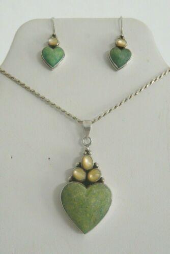 Vintage 925 Sterling Moonstone Green Gemstone Necklace Heart Pendant & Earrings