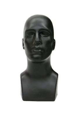 Mannequin Male Head Black Bust 16 Inch Wig Hat Halloween Mask Display Stand