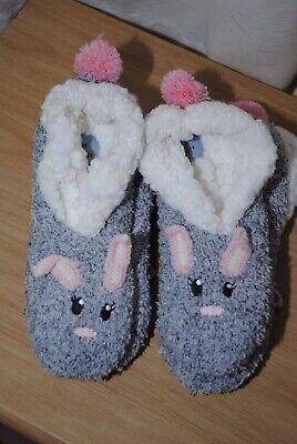 Jane & Bleecker Ladies Grey Bunny Rabbit Slipper Socks Uk 4-6 2 Pairs