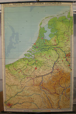 Schulwandkarte Wall Map School Map Netherlands Luxembourg Paris 136x208cm 1961