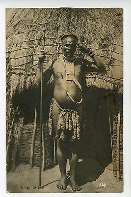 Fantastic ZULU CHIEF Antique RPPC Photo - South Africa ca. 1910s