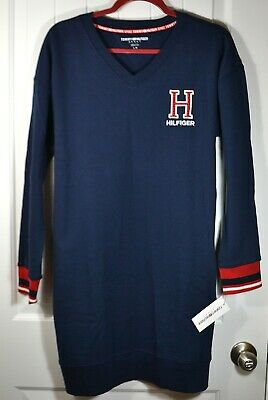 NWT WOMENS TOMMY HILFIGER NAVY BLUE V NECK ULTRA LONG KNIT SWEATER SZ L. XL