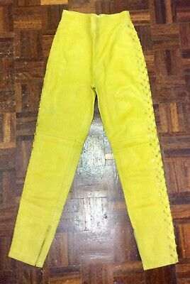 Versace Sunshine Yellow Skinny Leather Trousers With Side Lacing UK 8