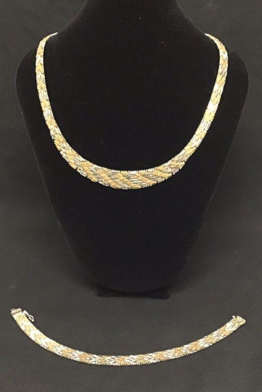 VINTAGE Sterling & Gold Vermeil Riccio Necklace & Bracelet Italy