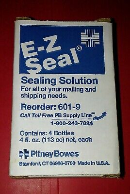 Pitney Bowes E-z Seal Sealing Solution 4 - 4fl Oz Bottles 601-9 New In Box
