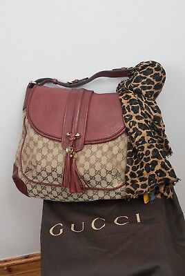 GUCCI Monogram canvas and leather shoulder bag Hardly Used