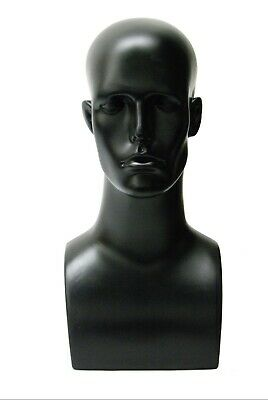 Plastic Black Adult Mens Mannequin Display Head With Facial Features And Ears