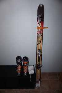 Alpine touring skiis, skins, boots (sz 31) and dynafit bindings