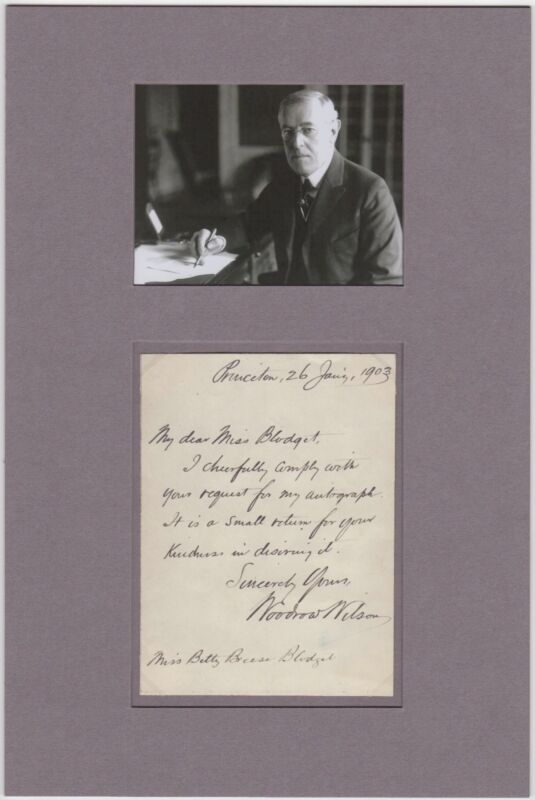 Us President Woodrow Wilson – Rare Autographed Letter Signed