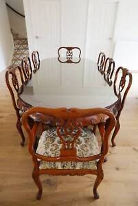 French Rosewood Extendable Dining Table Set with 8 Chairs