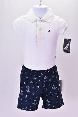Baby Boy's Nautica N030D08Q 2 Piece Body Suit Short Set White 0/3M
